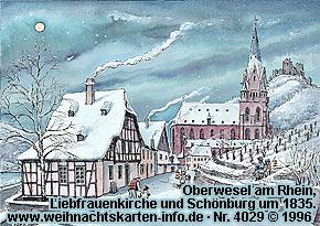Oberwesel am Rhein, Liebfrauenkirche und Schönburg um 1835